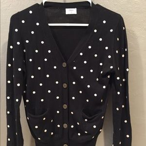 Madewell polka dot button up sweater